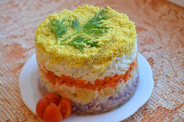 Салат Мимоза классический - пошаговый рецепт с фото на 3