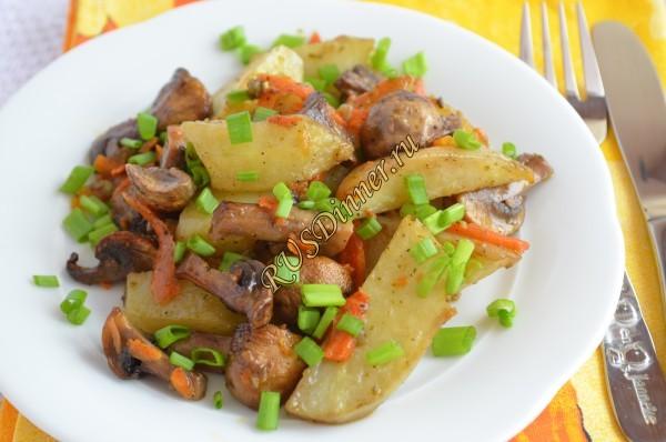 Шампиньоны с картошкой в духовке