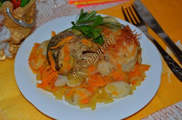 Щука, запеченная в духовке с овощами